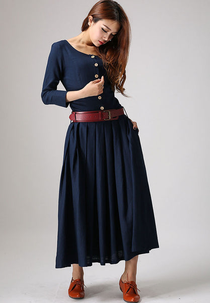 navy blue linen dress - women's bamboo linen full length dress 881