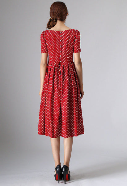 Red linen dress women linen dress midi dress 974