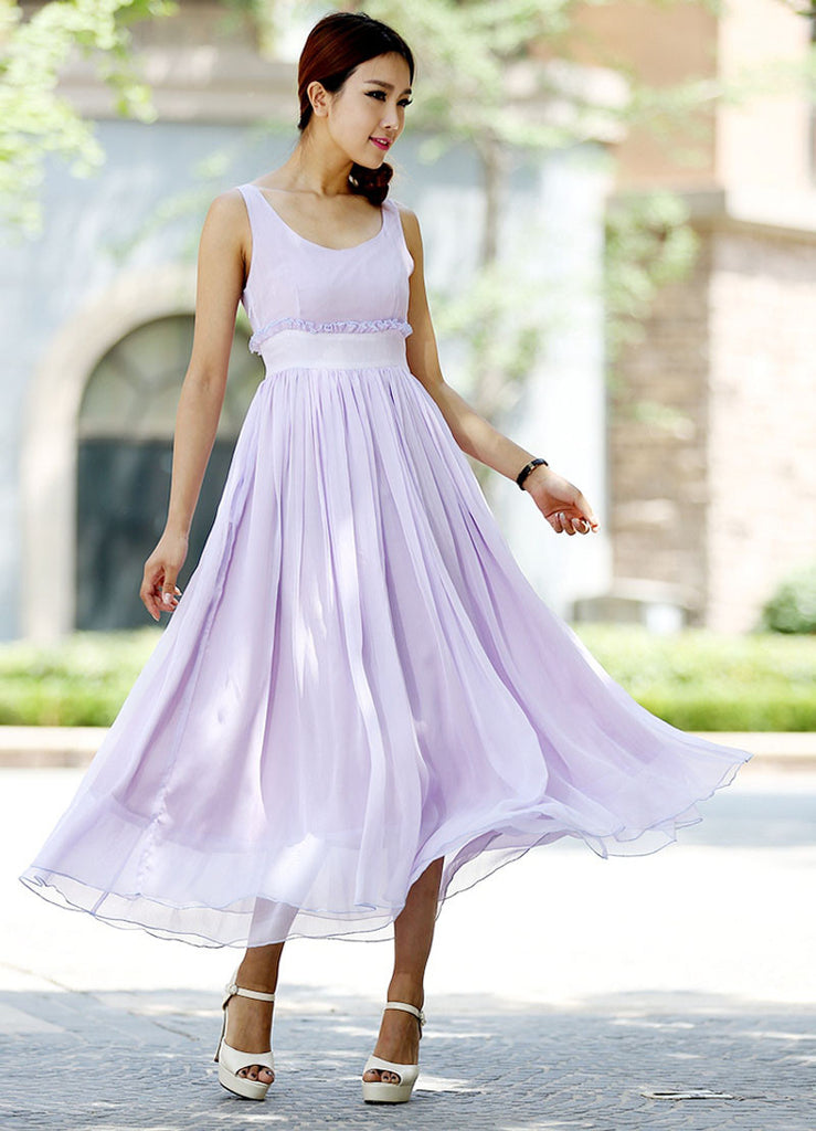 Prom dress maxi chiffon dress purple dress women dress wedding dress (1027)