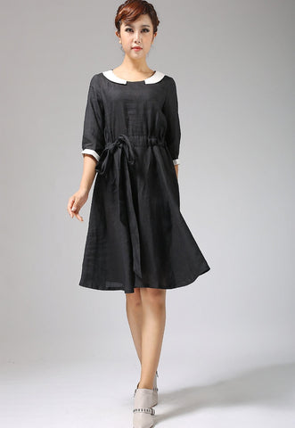 Black linen dress with collar and elbow length sleeves (697)