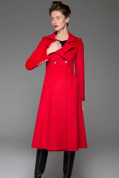 Red Winter Coat - Warm Elegant Long Double-Breated Fitted Handmade Designer Woman's Coat with Button Details Women's Fashion (1415)