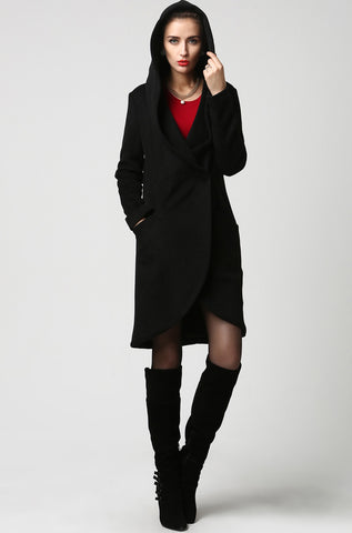 Black wool coat women coat 1124#