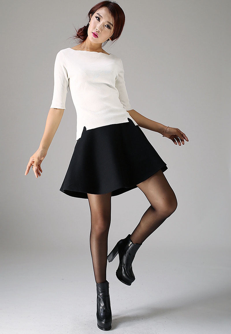 Mini wool skirt black skirt women skirt 1101