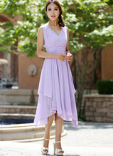 Load image into Gallery viewer, purple bridesmaid dress - women dress summer dresses chiffon dress -custom made (1003)