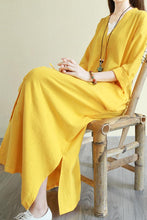 Load image into Gallery viewer, V neck long sleeve linen commuter long dress CYM341