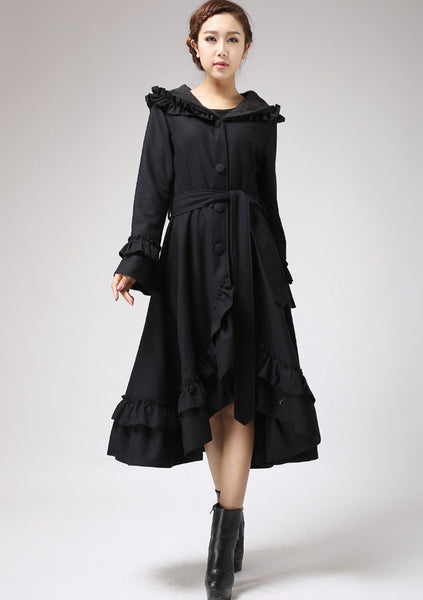 Black Ruffles Coat - Long Wool Maxi Hooded Coat with Circular Hemline - Made to Measure 713#
