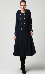 Women's military wool coat with hood  in navy blue 1114#