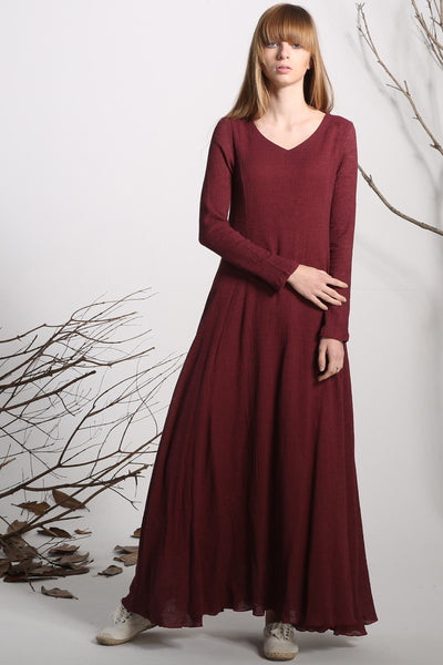 Maxi dress linen dress red long dress women dress (1138)