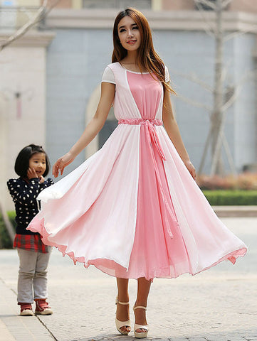 Pink chiffon dress maxi dress prom dress wedding dress (925)