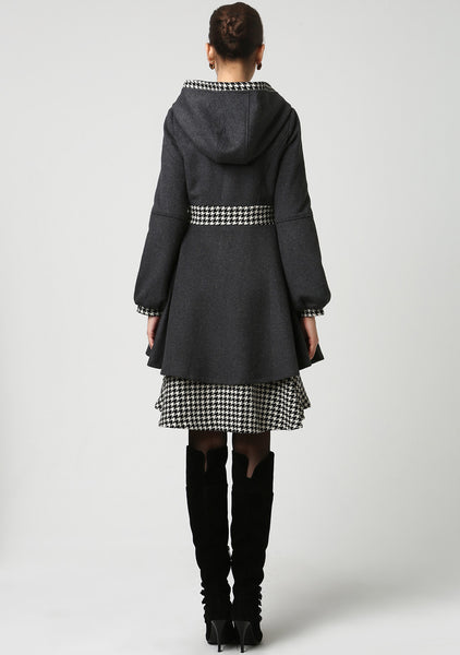 Dark Grey Wool and Houndstooth Fabric Midi Coat with Hood (1113)