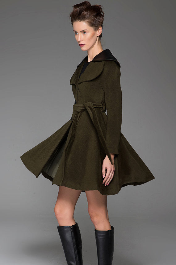 Woman's Swing Coat - Army Green Fit and Flare Short Winter Jacket with Leather Collar Lapels & Self-Tie Waist (1414)