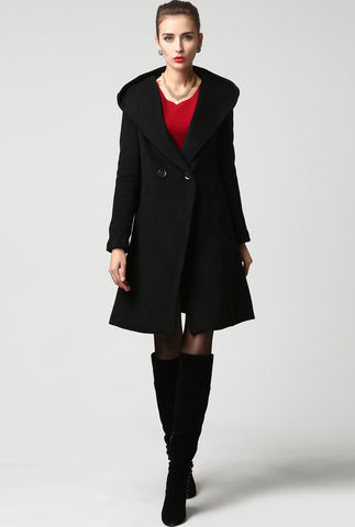 Black wool coat women coat 1123#