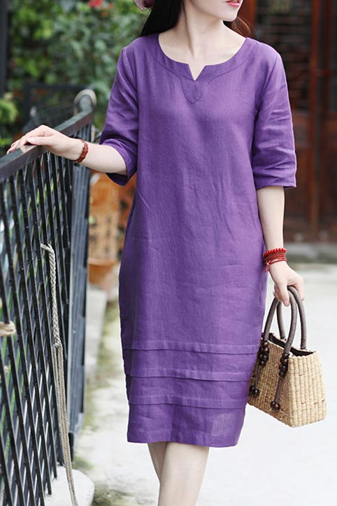 New summer travel linen dress with v neck and mid sleeves CYM467