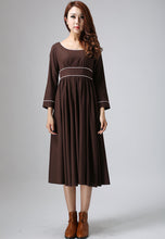 Load image into Gallery viewer, Brown dress maxi linen dress woman long dress custom made casual dress (808)