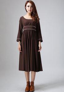 Brown dress maxi linen dress woman long dress custom made casual dress (808)