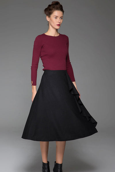 Mysterious Black Wool Skirt With Flower Lace on the Left Front Warm Black Skirt (1438)