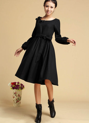 Black dress winter wool dress midi dress 321#