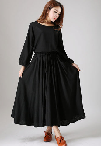Black dress woman maxi linen dress long sleeve dress custom made casual dress 835#