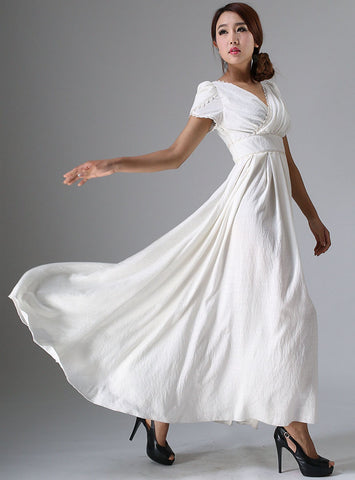 Soft Linen Prom Dress - White with Lace Edging, High Waist & Flared Long Skirt (959)