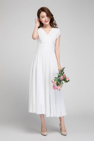 White empire waist fit and flare dress 1877