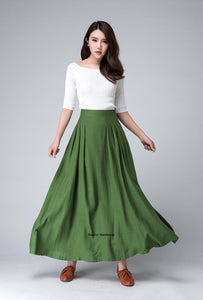 Pleated A line maxi skirt in Green 1502#
