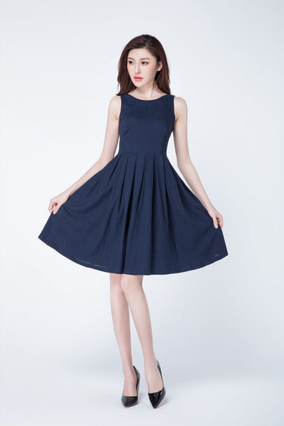 tank top dress, short dress, linen dress 1723