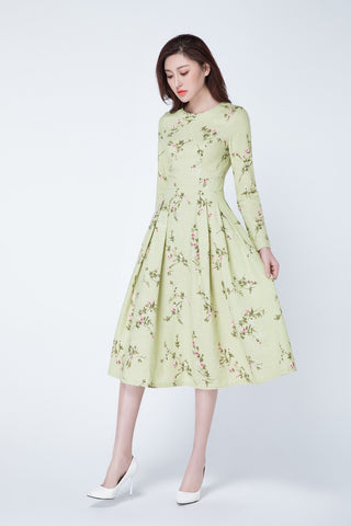 floral midi dress, Long sleeve dress, Romantic dress 1737