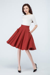 Red linen skit, Flare skirt
