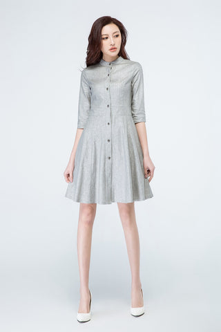light grey dress, shirt dress, linen dress 1694