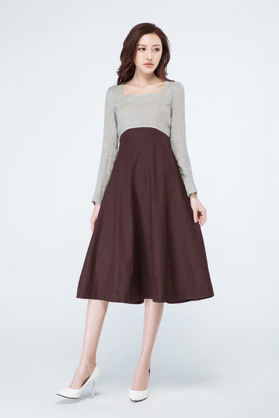 long sleeves dress, colorblock dress, grey and brown dress 1699