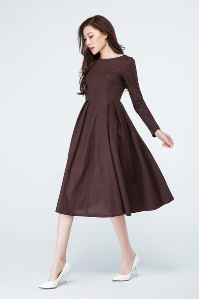 Brown linen dress, Long sleeve dress 1700