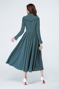 maxi length dress for women with long sleeve 1701