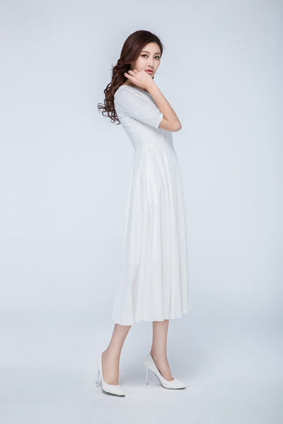 white linen dress, tea length dress 1740