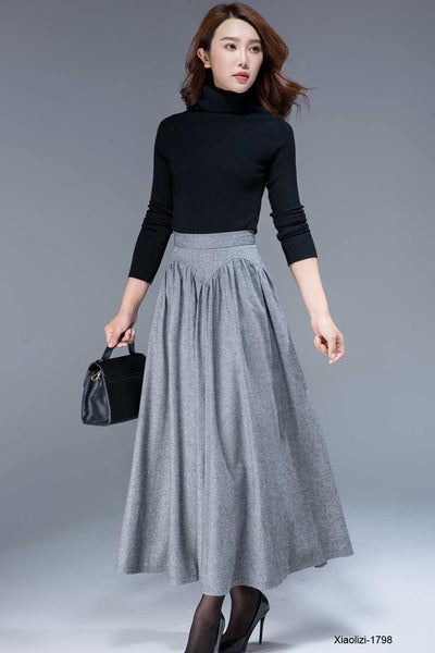 gray wool skirt for winter