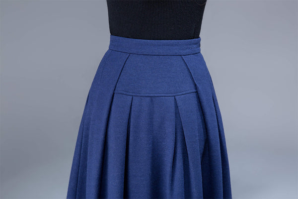 wool skirt,winter skirt, maxi skirt, pleated skirt, pockets skirt  1806