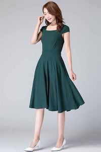 retro green linen midi swing dress 1904#