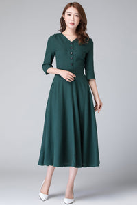 Linen shirt swing dress, wedding guest dress 1906#