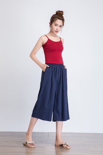 Blue wide leg crop pants