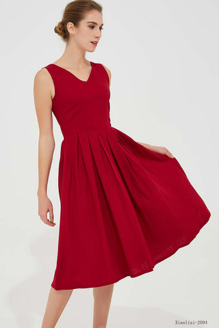 Sleeveless red pleated fit and flare dress 2094#