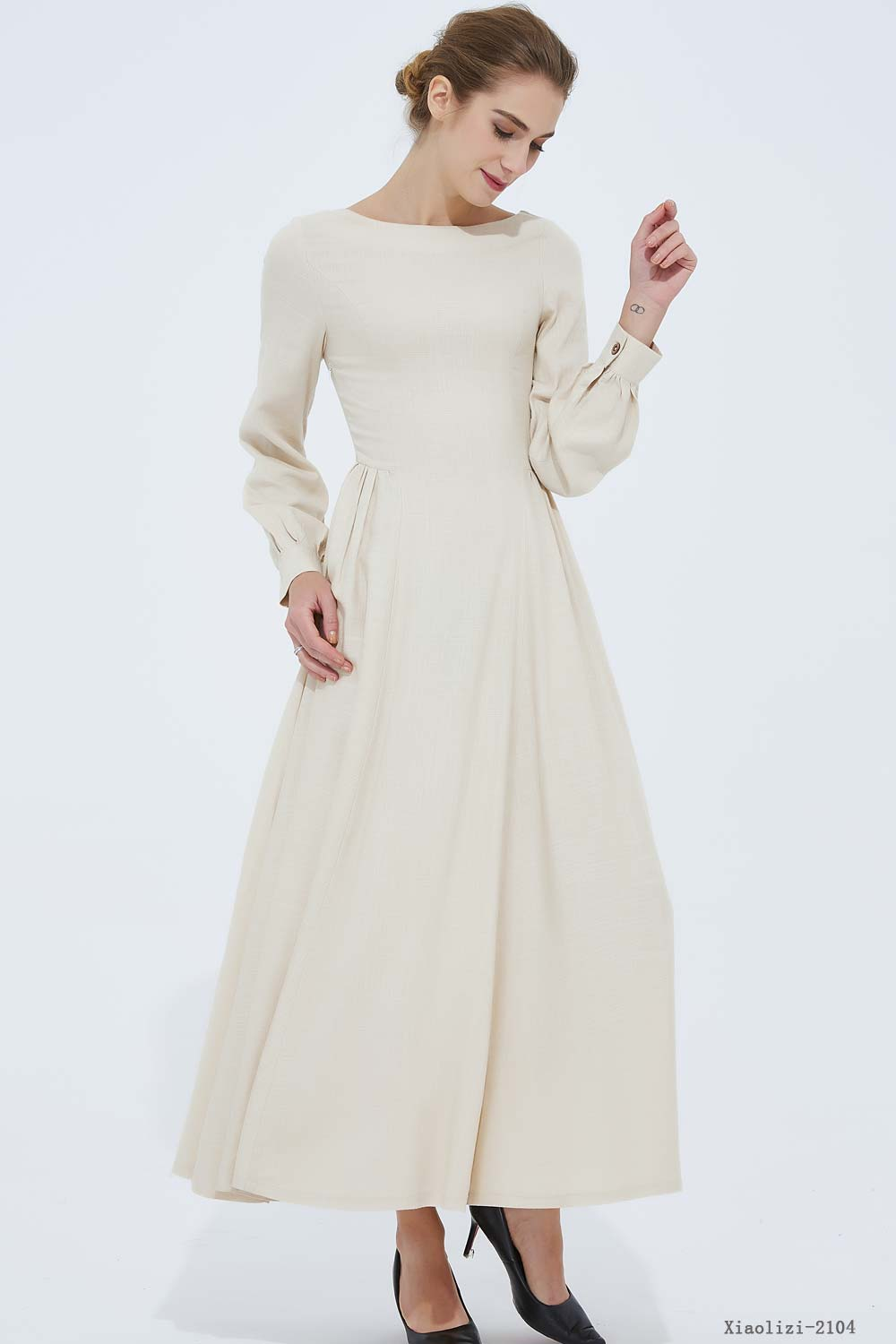 long sleeve swing prom dress in beige 2104#