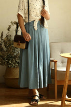 Load image into Gallery viewer, Elegant pleated linen skirt in blue 2154#