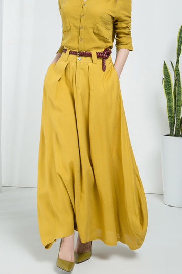Yellow linen skirt