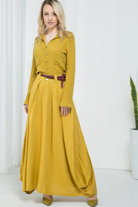 Yellow casual long maxi skirt 2157#