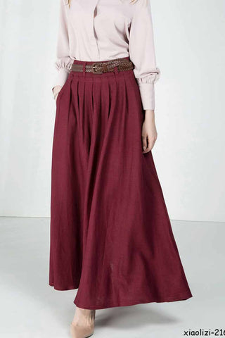 Feminine maxi skirt, Pleated waist long skirt 2163#