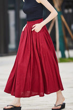 Load image into Gallery viewer, Casual Linen maxi Skirt with pleated Pockets  2176#
