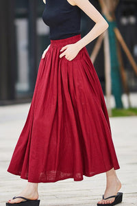 Casual Linen maxi Skirt with pleated Pockets  2176#