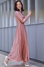 Load image into Gallery viewer, long sleeve swing prom dress in pink 2186#