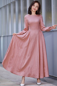 long sleeve swing prom dress in pink 2186#