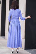Load image into Gallery viewer, Chic fit and flare dress with ruffle wasit and 3/4 sleeve in purple 2187#