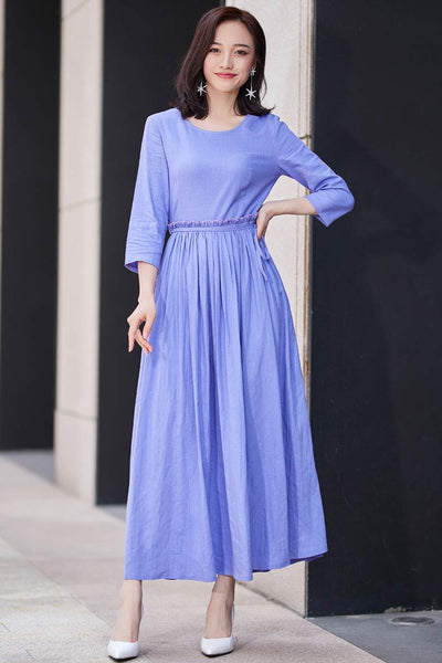 Chic fit and flare dress with ruffle wasit and 3/4 sleeve in purple 2187#